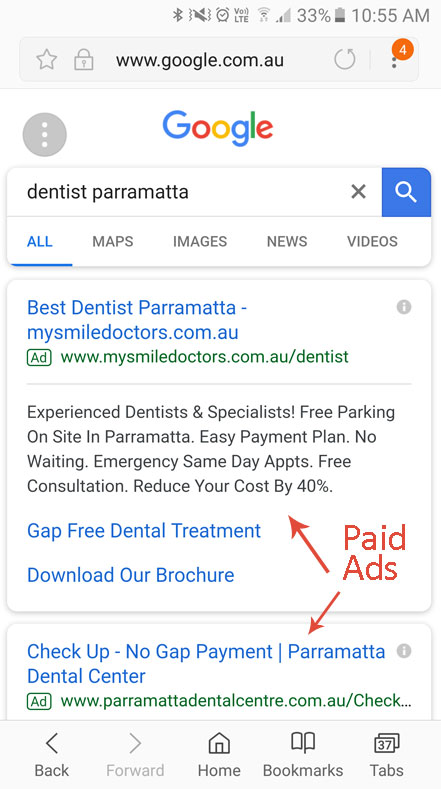 Paid Ads Mobile Screen for Dentist Parramatta
